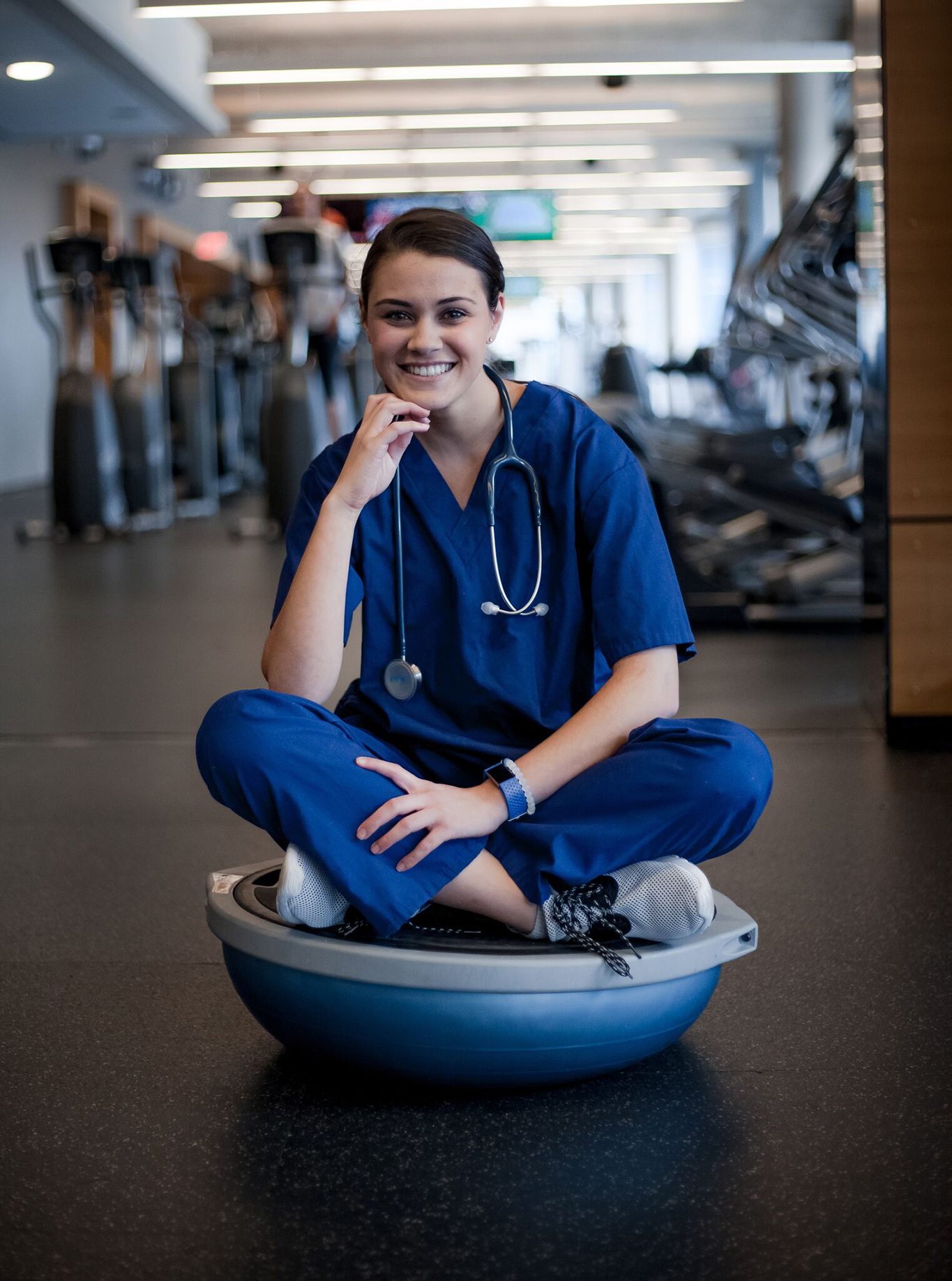 "Julia Golkin, a health sciences and health administration major in the College of Nursing and Health Professions, loves the Rec Center because it helps her so she can ""just de-stress and can zone out with my music and just take some time for myself."""