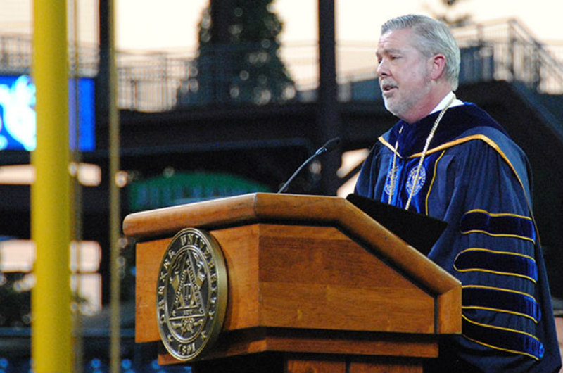 President John Fry at Commencement 2017 at Citizens Bank Park.