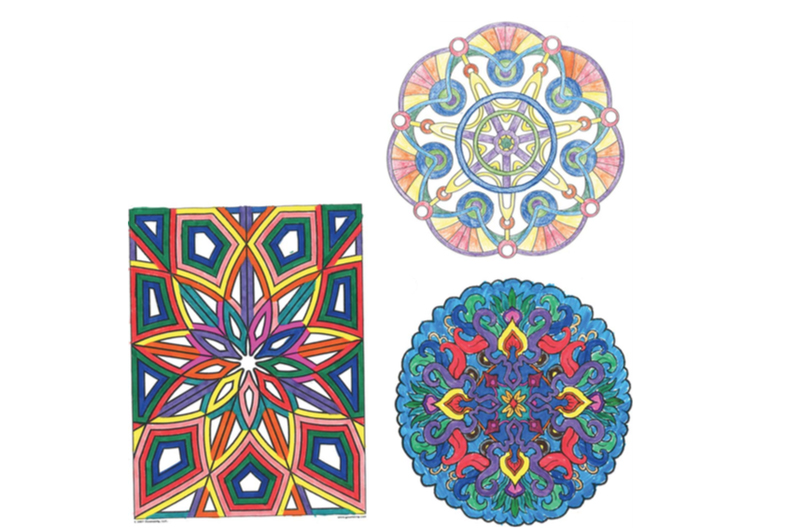 A trio of colored-in designs