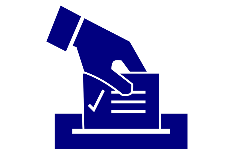 Drawing of a hand putting a vote in a ballot box