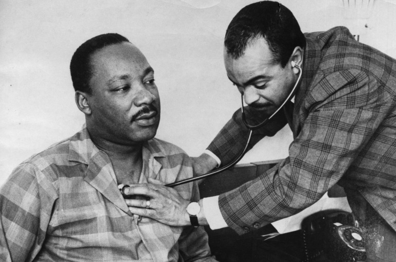 Martin Luther King Jr. being treated by Walter P. Lomax Jr. in his Philadelphia hotel room on Feb. 10, 1968.