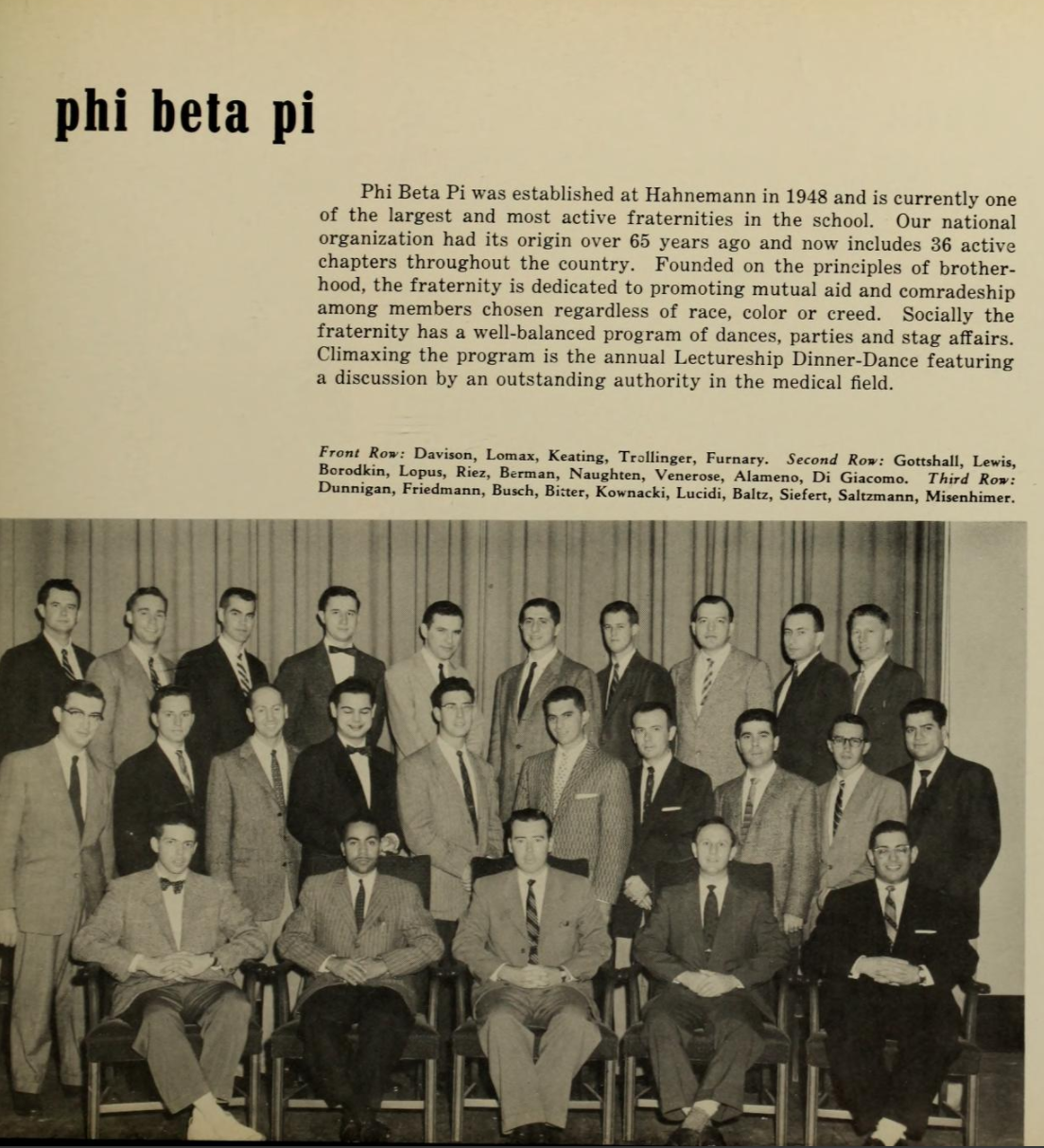 A scan from the 1957 Hahnemann yearbook for the Phi Beta Pi fraternity that Walter P. Lomax Jr, second from left in the front row in photo, joined.