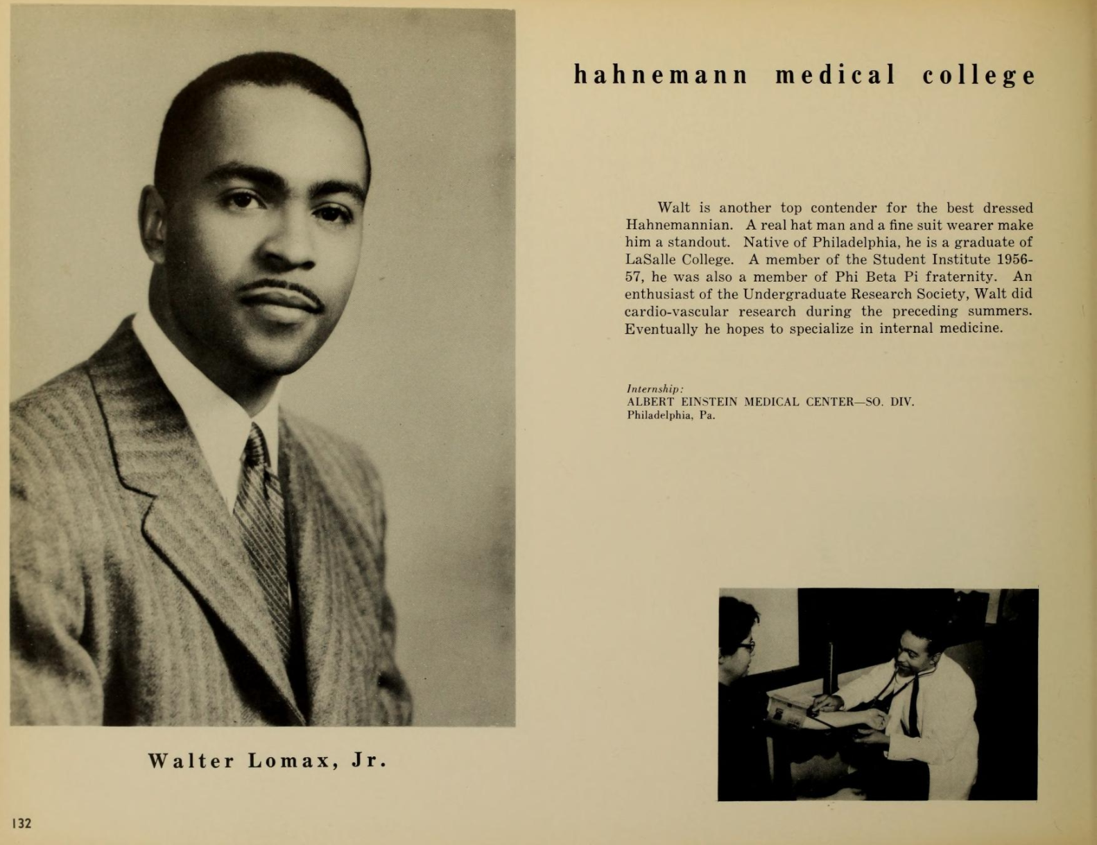 The 1957 Hahnemann yearbook entry for Walter P. Lomax Jr.