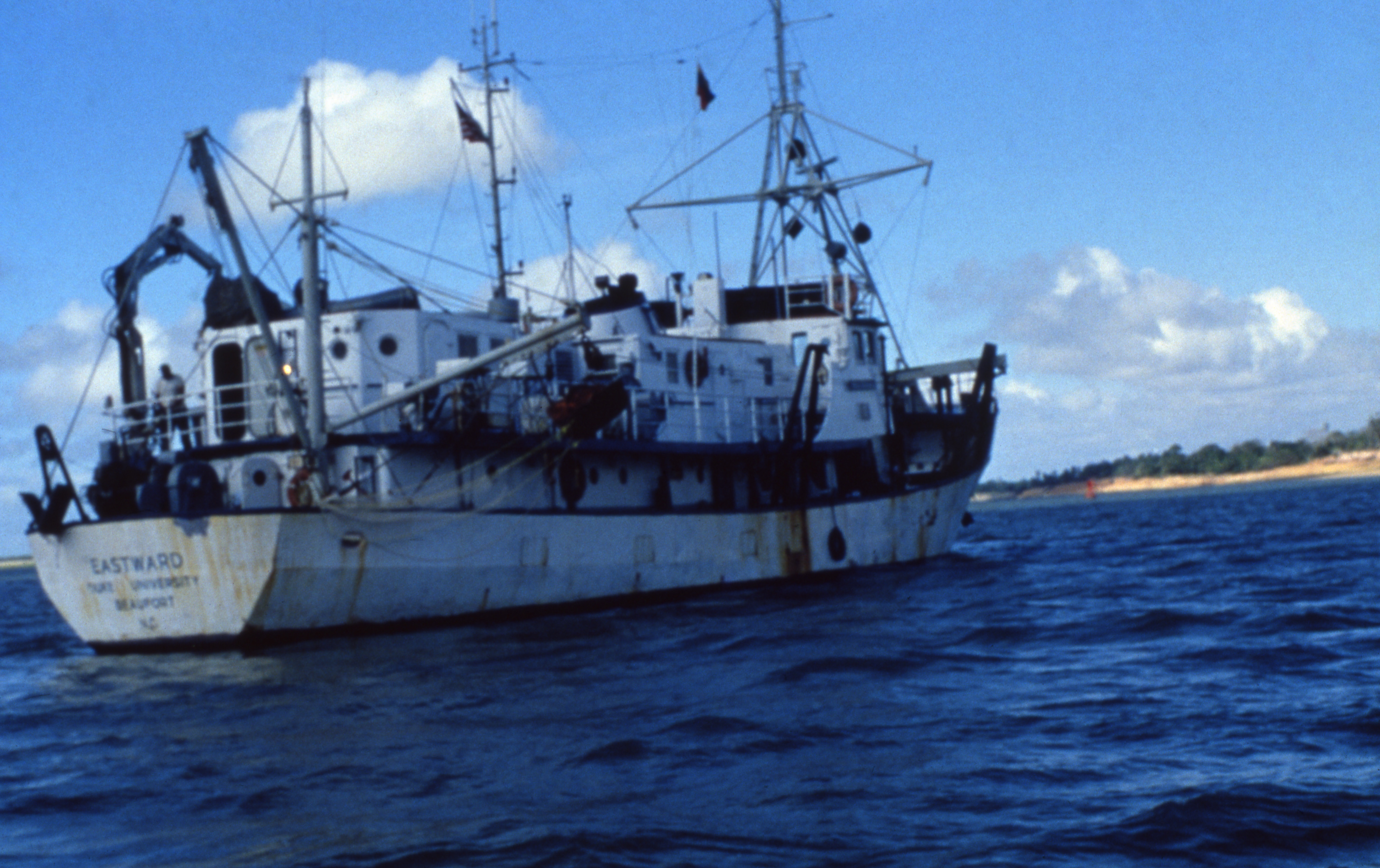 A photo of the RV Eastward on the water.