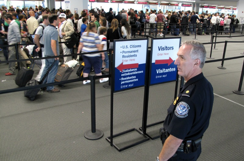A security line at Philadelphia International Airport.