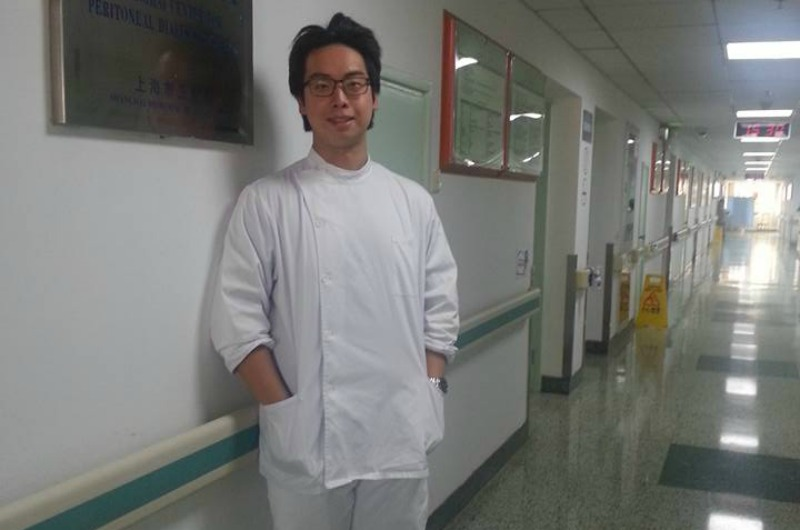 Peter Ngo ready for work at Renji Hospital.