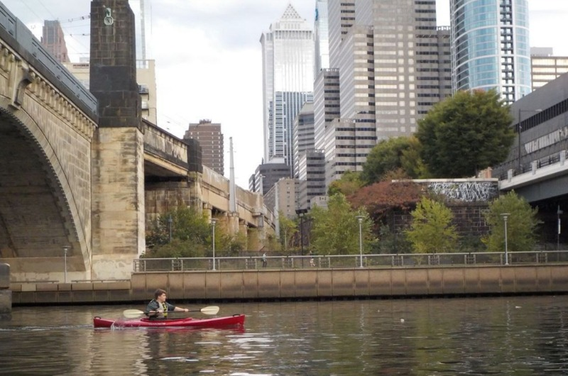 "Vincent O'Leary on the Schuylkill River as part of the ""Project Footpath"" course."