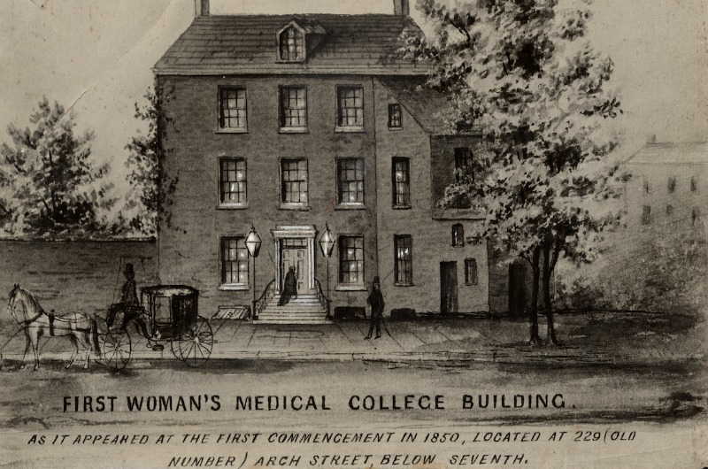 The first building in which Hahnemann Medical College and the Woman's Medical College of Pennsylvania held classes. Photo courtesy Legacy Center Archives, Drexel College of Medicine.
