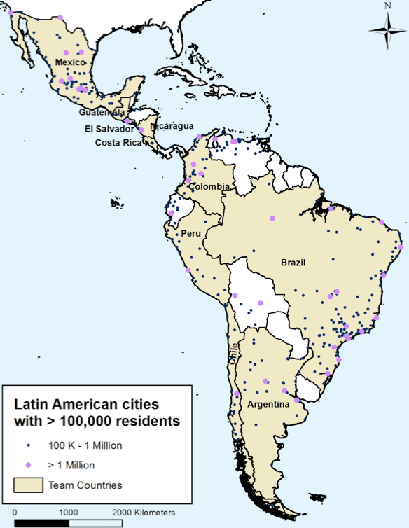 A map of Central and South America with dots locating different cities.