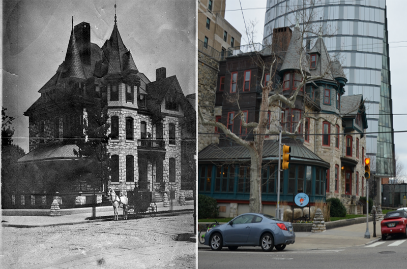 Left to right: The original home built at 227 N. 34th Street, photo courtesy of University Archives, and the building today.