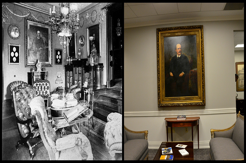 """Portrait of Anthony J. Drexel"" (1860) by Josef Bergenthal, as it was hung in Anthony J. Drexel's house in 1893 (L) and in the President's Office in Main Building in 2017 (R)."