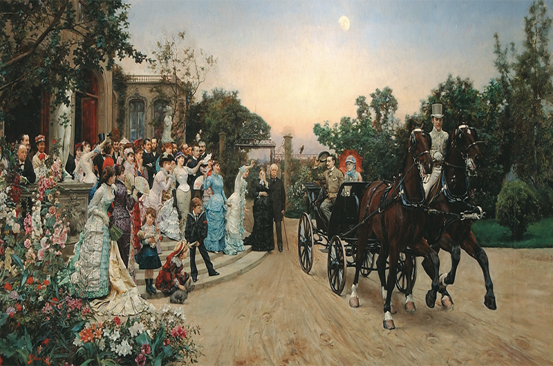 """After the Wedding"" by Julius L. Stewart was painted in 1880 and donated to Drexel University by the founder after his death. It supposedly features members of the Drexel family at a wedding between the founder's daughter and the artist's brother. Photo courtesy The Drexel Collection."