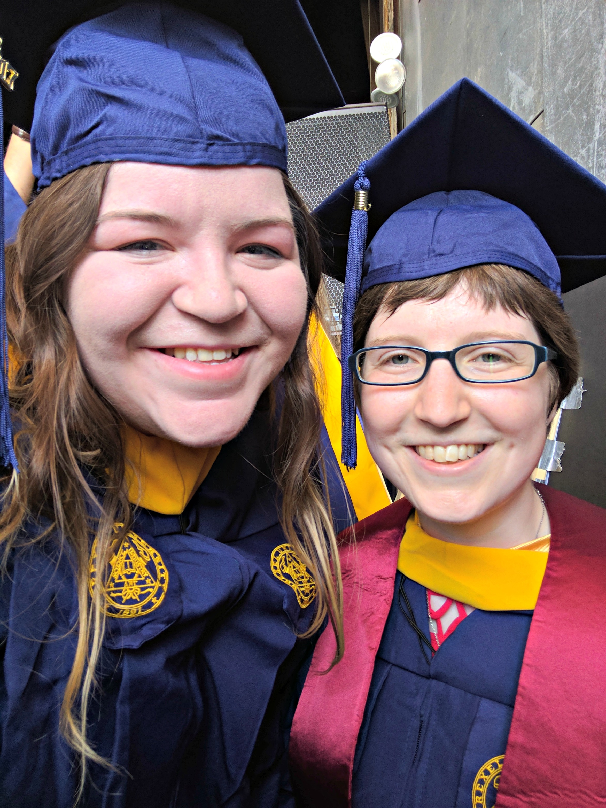 Sara Yacoubian, left, and Karen Shollenberger, right, at graduation this year. Photo courtesy Sara Yacoubian.