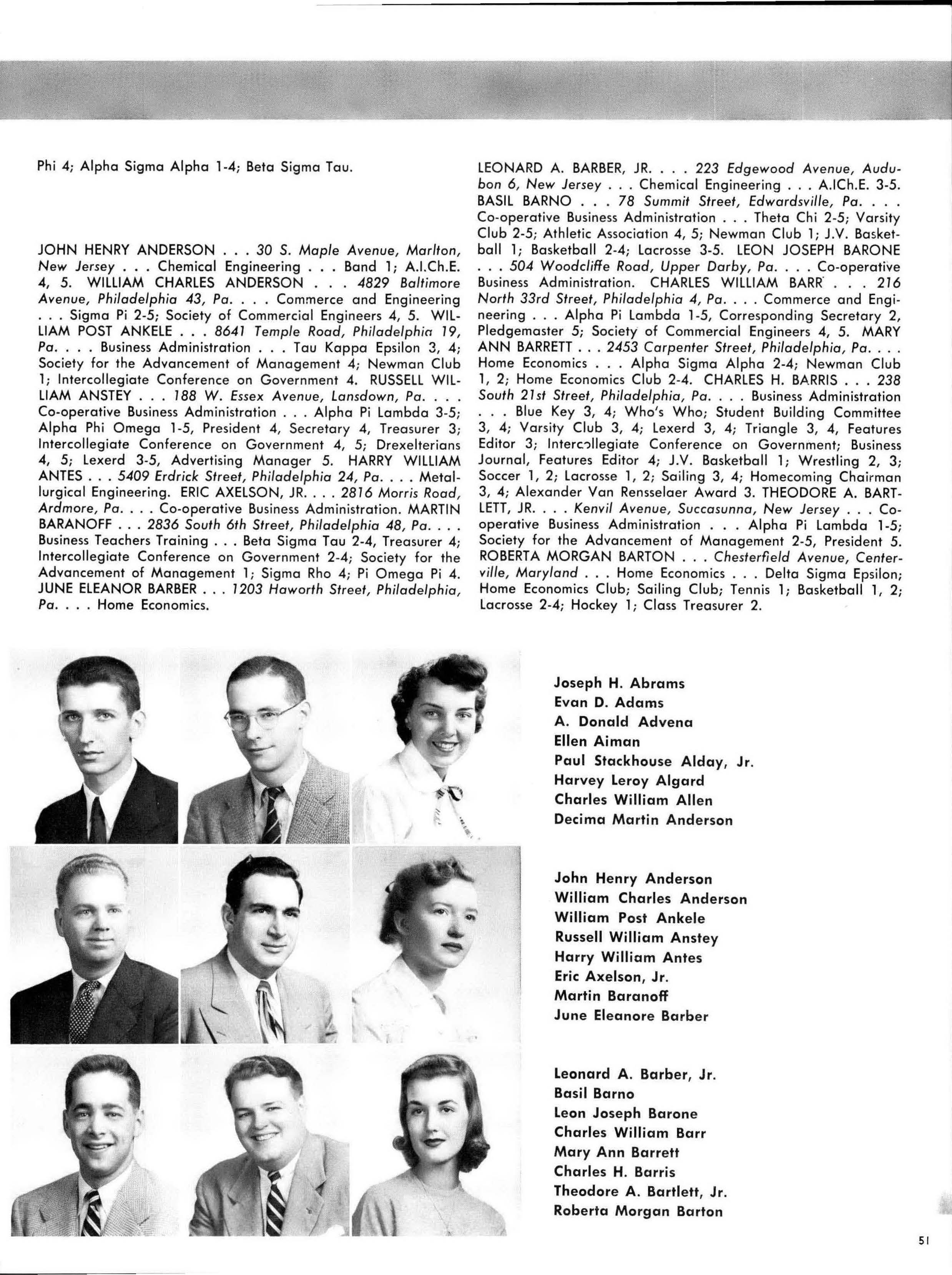 The 1953 Lexerd yearbook page featuring Chuck Barris. Photo courtesy University Archives.