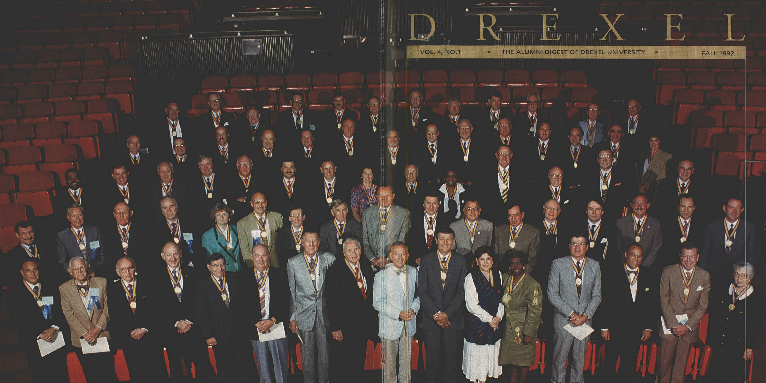 A composite of the front and back covers of the fall 1992 issue of Drexel's alumni magazine featuring the inaugural class of the Drexel 100 (with President Richard Breslin in the pale blue coat in the center of the bottom row). Magazine scan courtesy University Archives.