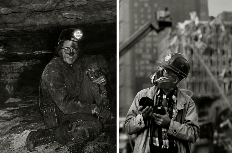 """Earl Dotter in Low Coal WVA 1976 & Ground Zero NYC 2001,"" courtesy Earl Dotter."