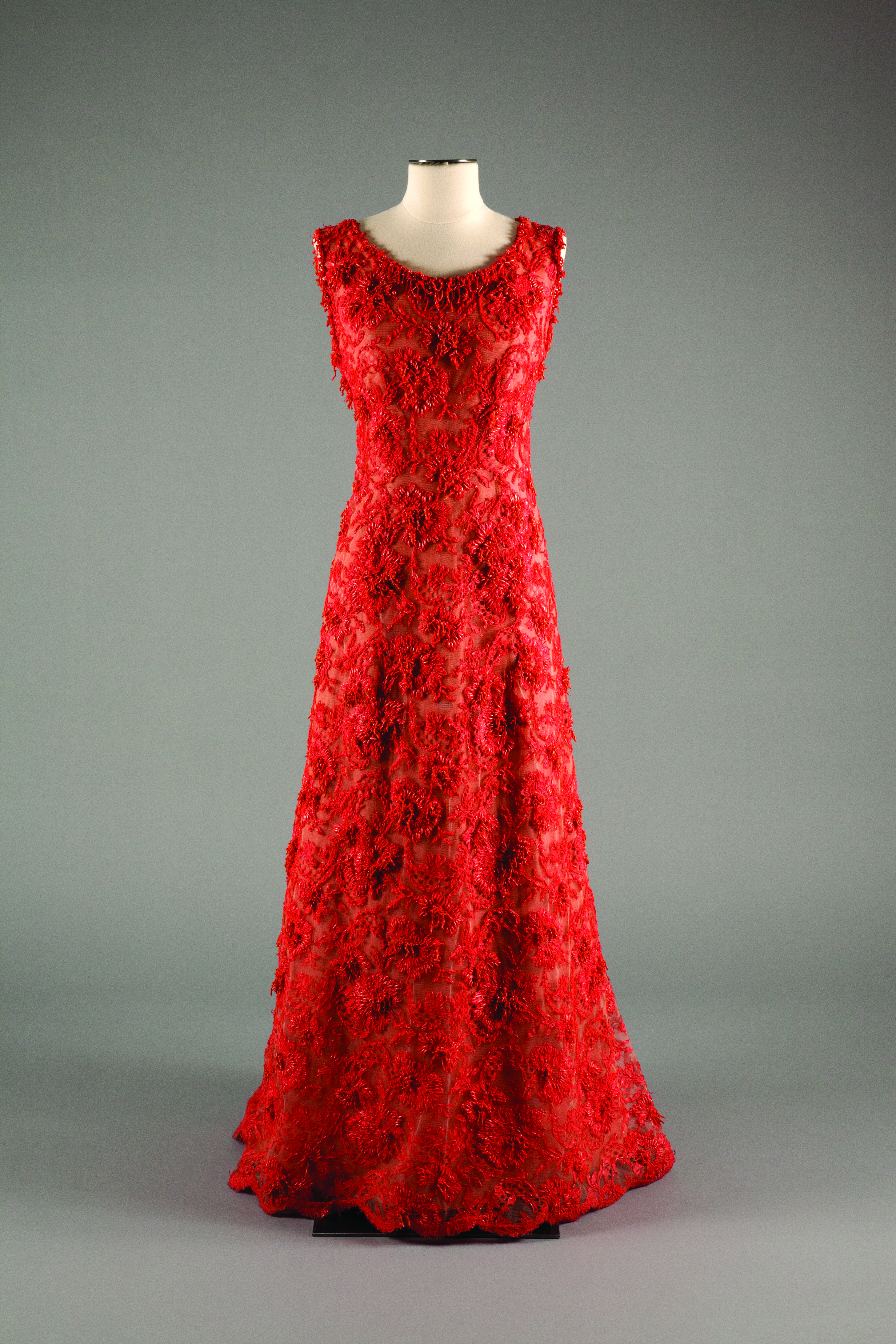 Hubert de Givenchy coral and lace evening gown worn by Her Serene Highness, Prince Grace of Monaco, circa 1964 France.