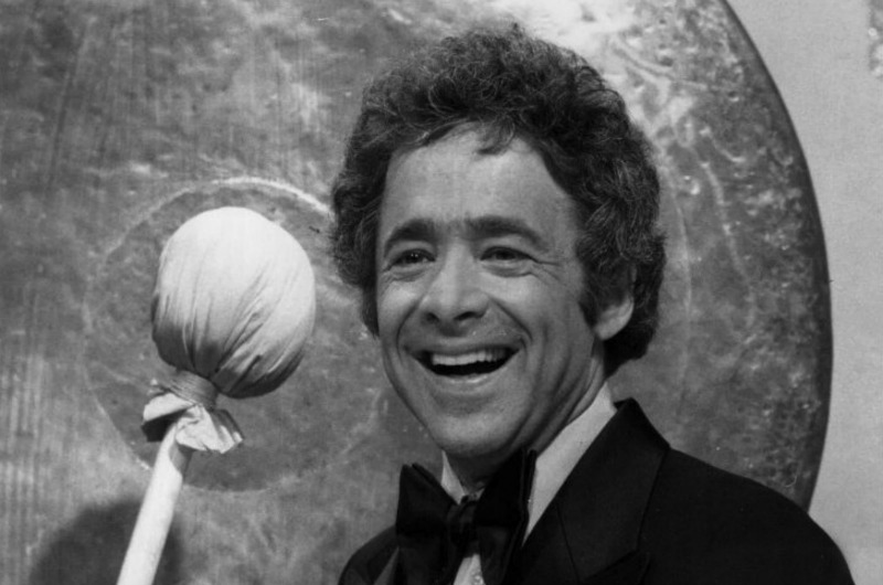"Publicity photo of Chuck Barris promoting the June 14, 1976 premiere of the NBC reality talent show ""The Gong Show."" Photo courtesy NBC Television."
