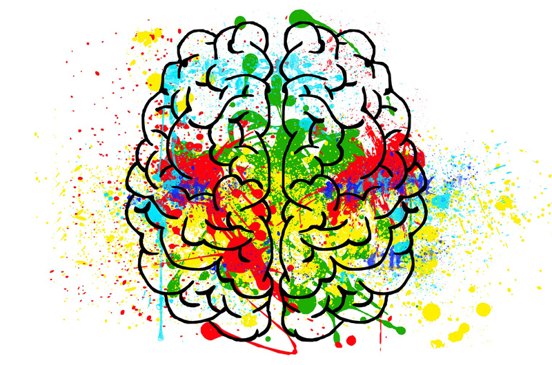 A sketch of a brain with splatters of different colors of paint.