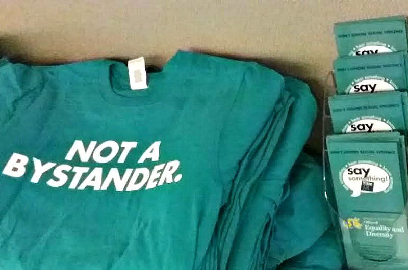 T-shirts and promotional materials for Drexel's Sexual Assault Awareness Month.