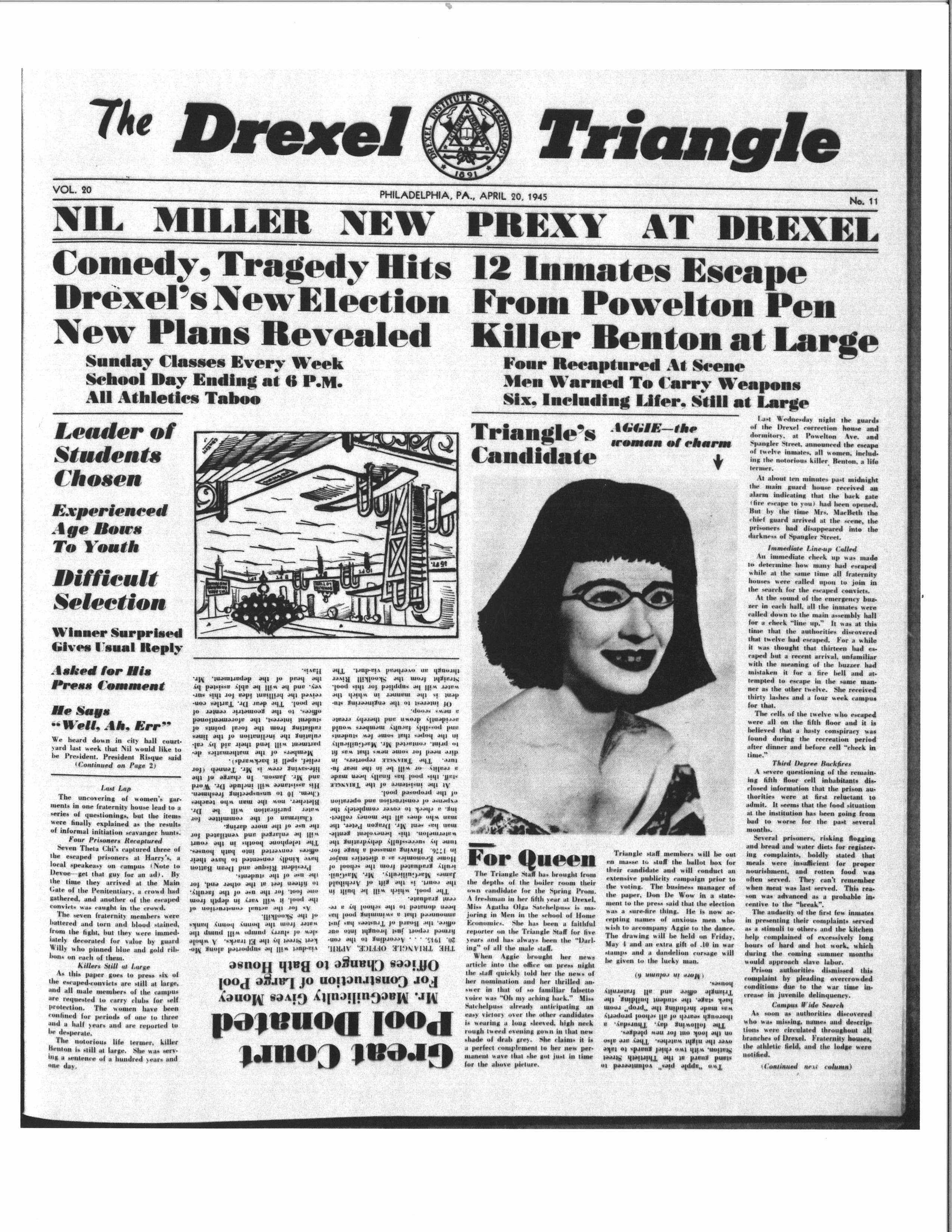 The front page of The Triangle's 1945 joke issue.