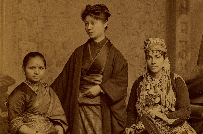 A photo taken in 1885 of Anandibai Joshee, who graduated in 1886; Kei Okami who graduated in 1889; and Sabat Islambooly, who graduated in 1890. Photo courtesy Legacy Center Archives, Drexel College of Medicine.