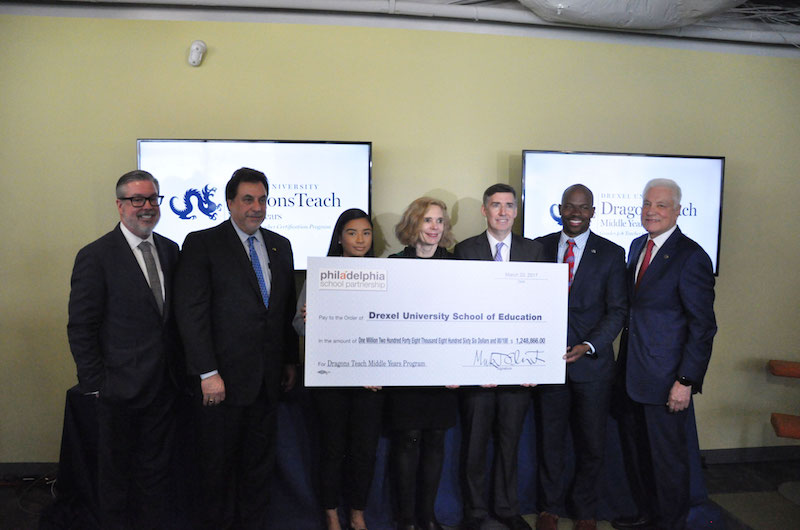 Philadelphia School Partnership presented a $1.2 million grant to Drexel University to launch a residency-based teacher certification program called Dragons Teach Middle Years (DTMY).
