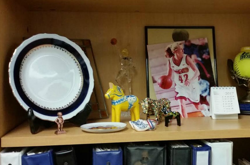 Amy Mallon's collection of gifts from her international basketball players.