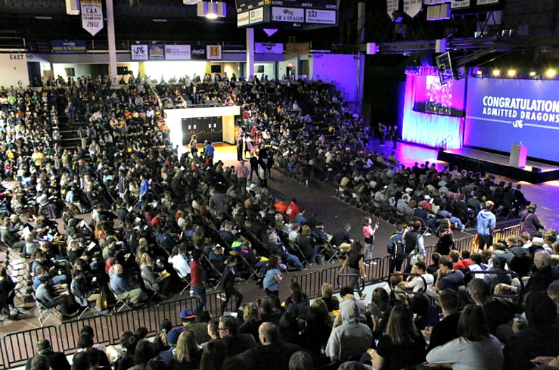 "The crowd at one of Drexel's ""Admitted Student Days"" this past year."