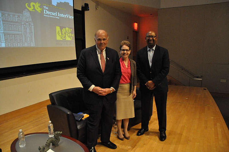 From left to right: former Governor Ed Rendell, Pennoni Honors College Dean Paula Marantz Cohen, PhD, and former Mayor Michael Nutter.