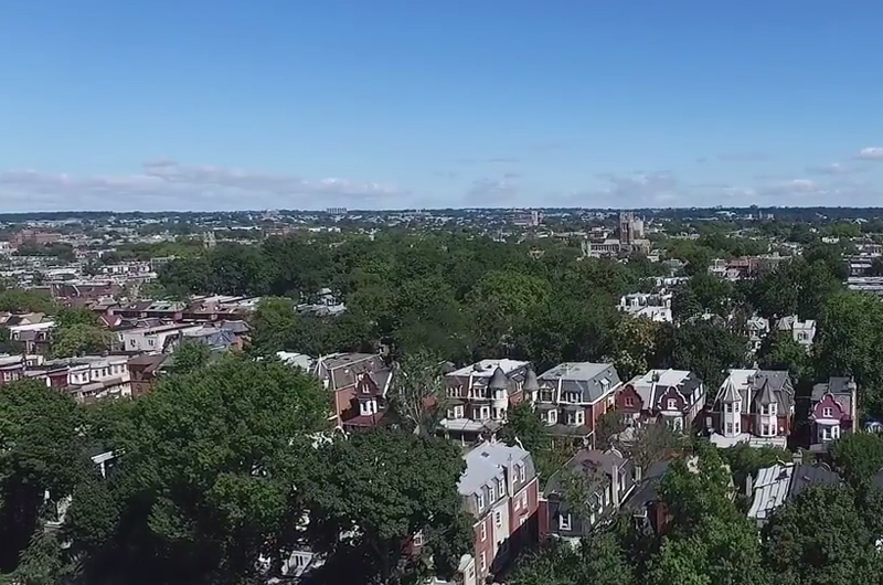Aerial view of West Philadelphia