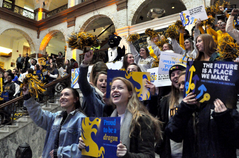 Drexel students celebrating the launch of the University's new fundraising campaign