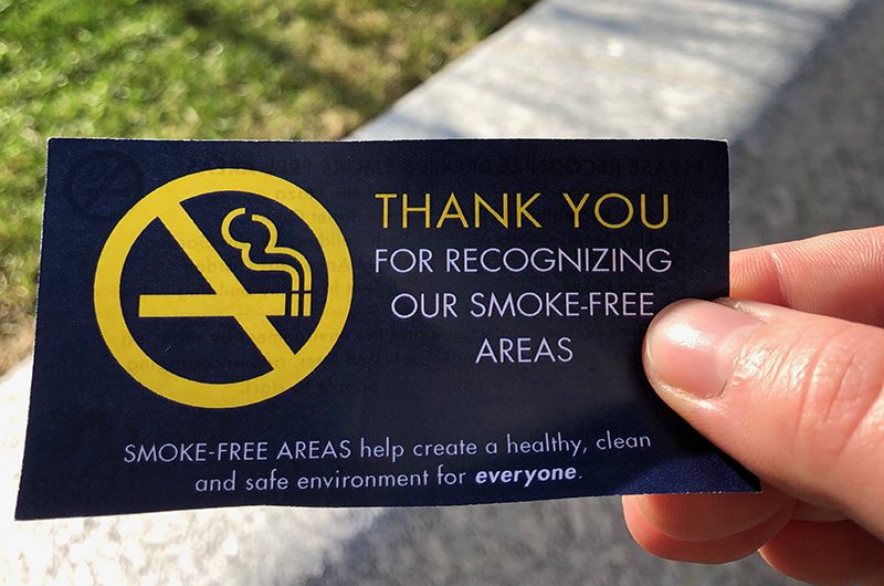 The front of the card that Drexel Public Safety officers will give to smokers within the smoke-free areas on Drexel's University City Campus.