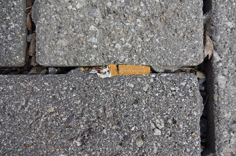 A cigarette butt stuck in a paver on Drexel's University City Campus.