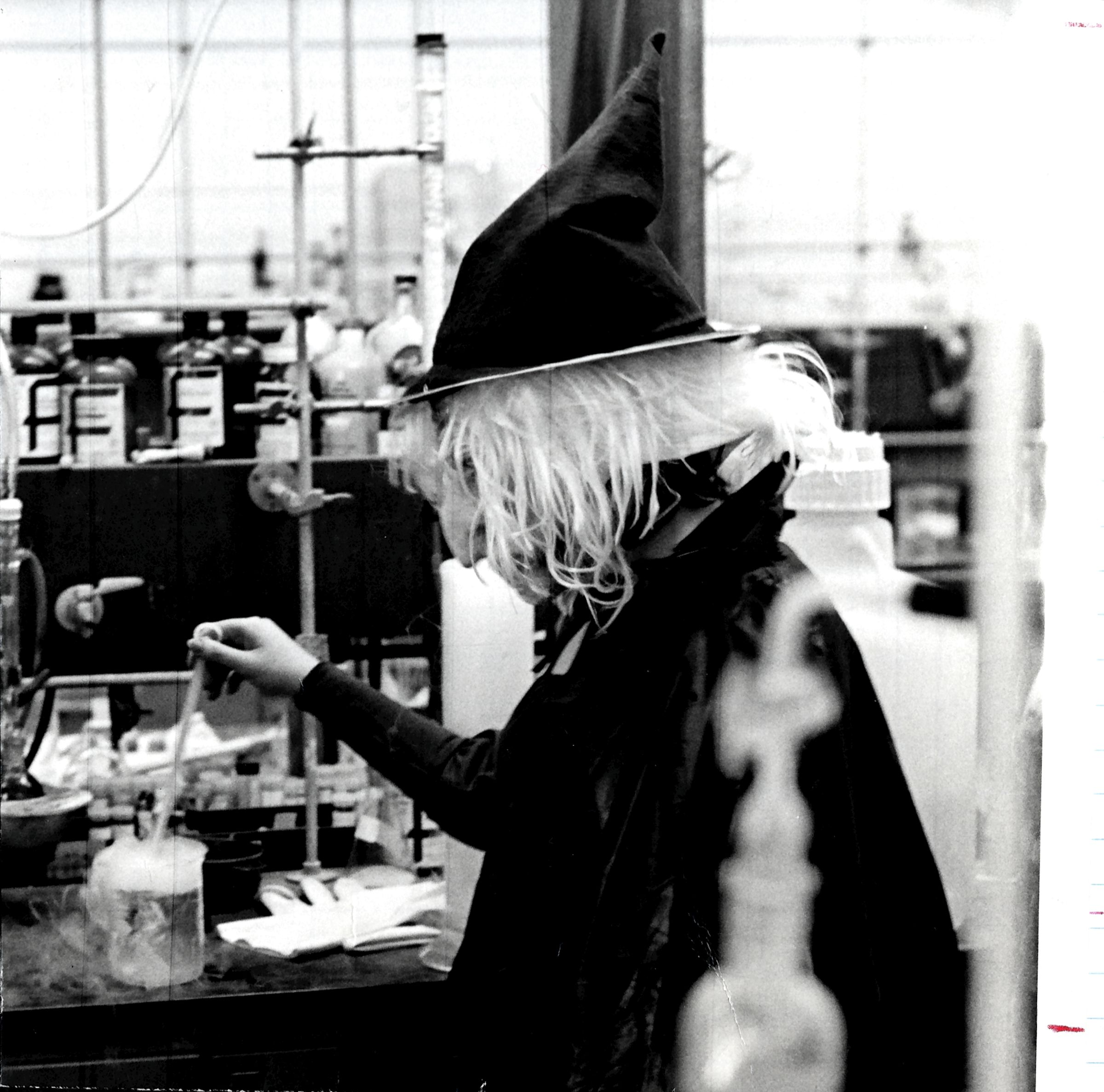 A Dragon wearing a witch costume in chemistry lab in 1979. Photo courtesy University Archives.