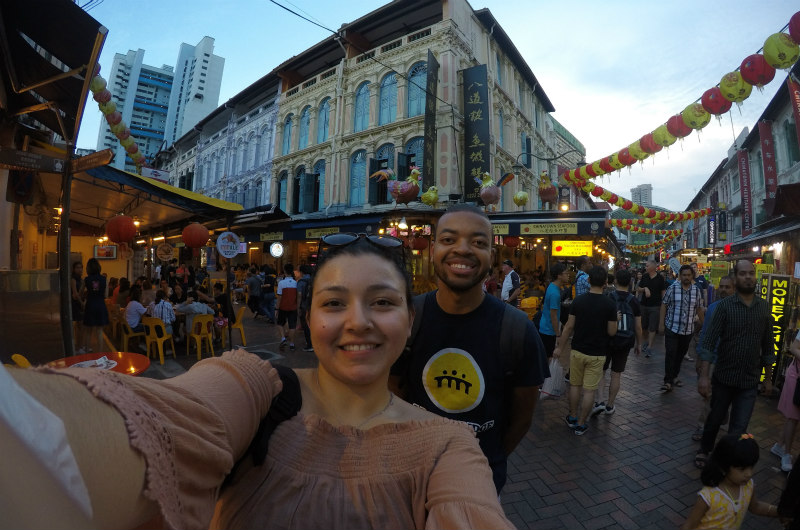 Daniela Munoz in Singapore with fellow Dragon KeShaun Hinmon.