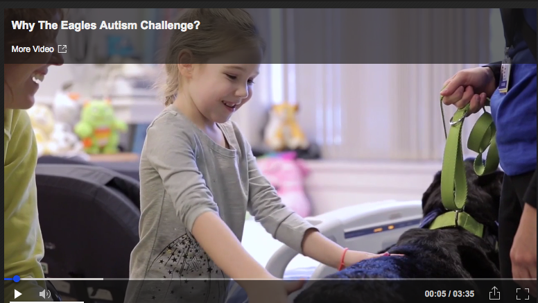 Screenshot of the Eagles Autism Challenge video with embedded link to video