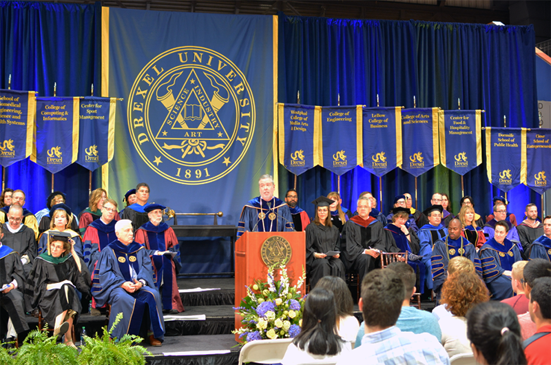 Drexel University President John Fry speaks at Drexel's 2017 Convocation.