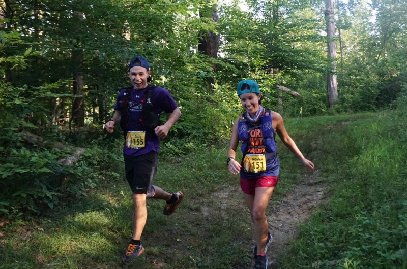Drexel University College of Medicine student Hong De Sa running a 100-mile race alongside her brother