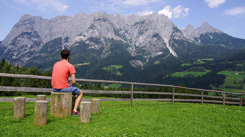 "William Zawisa admires the mountain top meadow, just outside the town of Werfen, Austria where the picnic scene from ""The Sound of Music"" was filmed."