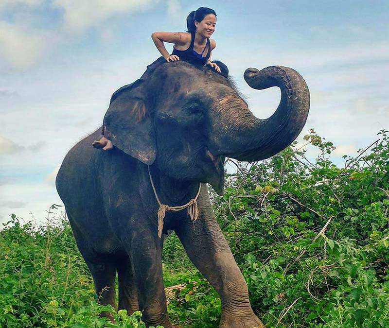 To experience the local culture in Thailand, Yu-Ann Wu enjoys riding elephants with a local guide along the River Kwai.
