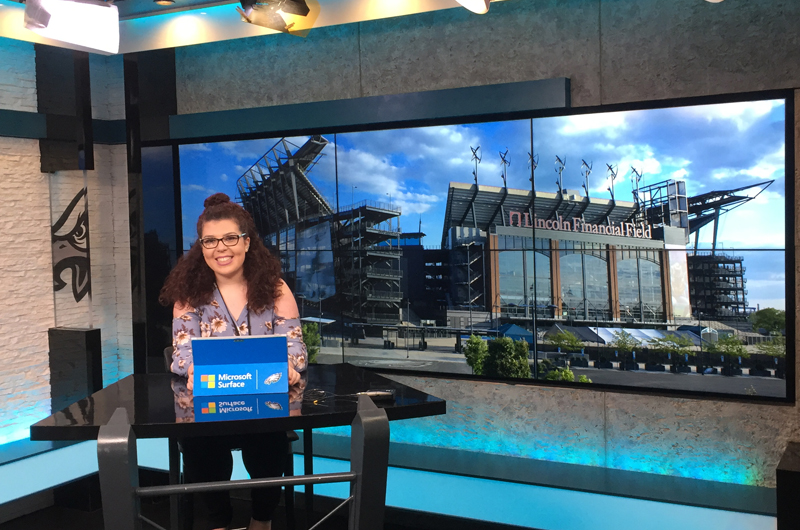 Gabby D'Andrea, vice president of the Neurodragons, getting ready for an interview at the Eagles' NovaCare Complex late last year. Courtesy of the Philadelphia Eagles.