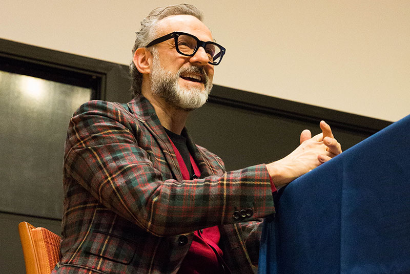 World-renowned Italian chef Massimo Bottura at an event hosted by Drexel's Center for Food and Hospitality Management and the Philly Chef Conference.