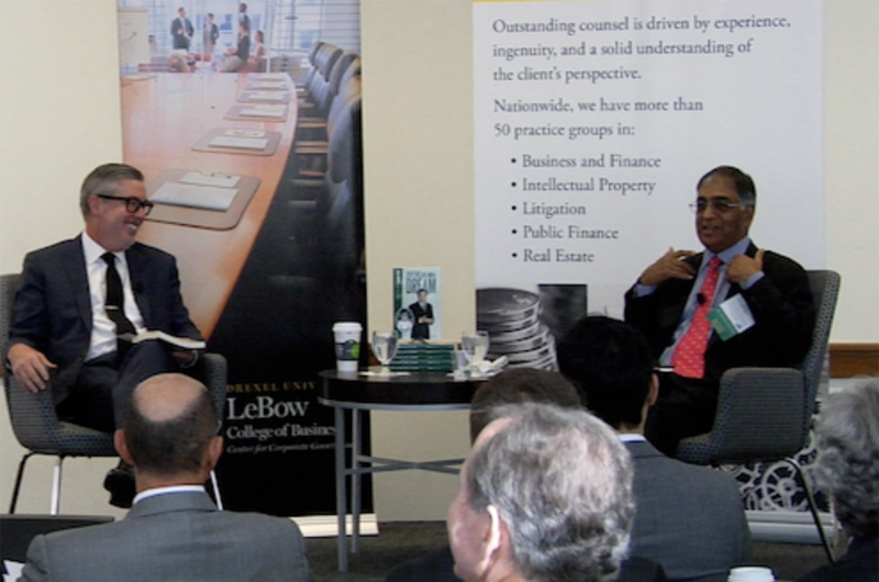 Drexel President John Fry and Raj Gupta at an event