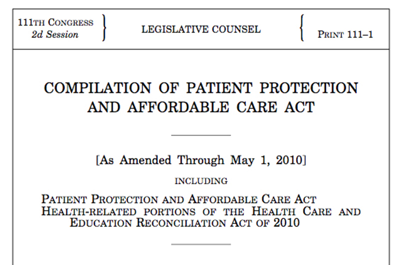 The title of the legislation papers for the Affordable Care Act