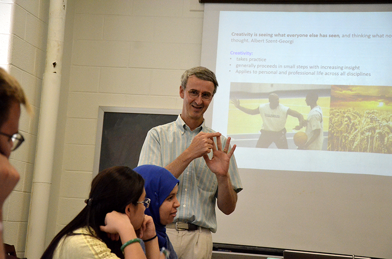 Fraser Fleming, PhD, head of the chemistry department in the College of Arts and Sciences, teaching the course.