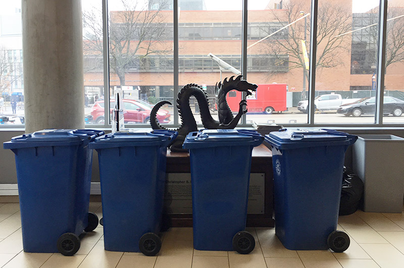 The Feb. 20 RecycleMania event on University City Campus featured lots and lots of recycling bins.