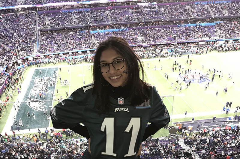 Pranali Jagasia, a pre-junior communication major in the College of Arts and Sciences, at the Super Bowl. She worked the Eagles' home games as a co-op with a marketing internship for the team's entertainment groups.