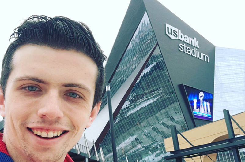 Joseph Roche, an entertainment and arts management student who helped set up and take down the stage in Justin Timberlake's halftime show.