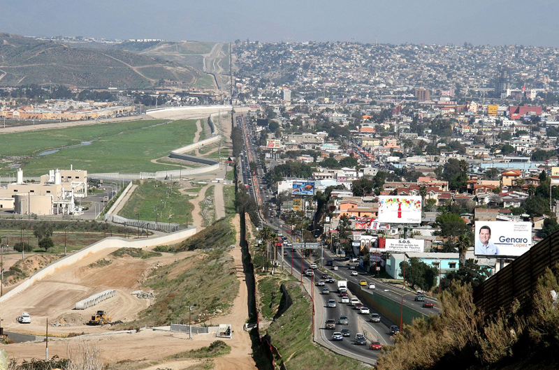 The wall separating Tijuana and the United States